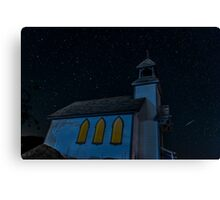 Little Chapel on the Hill Perseid Meteor Shower Canvas Print