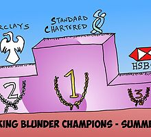 Banking Blunder Champions business cartoon by Binary-Options