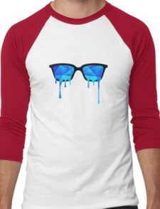 Abstract crystal ice blue triangle (low poly) / Hipster Nerd Glasses Men's Baseball ¾ T-Shirt
