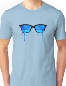 Abstract crystal ice blue triangle (low poly) / Hipster Nerd Glasses Unisex T-Shirt