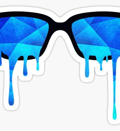 Abstract crystal ice blue triangle (low poly) / Hipster Nerd Glasses Sticker