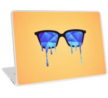 Abstract crystal ice blue triangle (low poly) / Hipster Nerd Glasses Laptop Skin