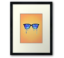 Abstract crystal ice blue triangle (low poly) / Hipster Nerd Glasses Framed Print