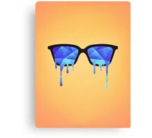 Abstract crystal ice blue triangle (low poly) / Hipster Nerd Glasses Canvas Print