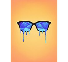 Abstract crystal ice blue triangle (low poly) / Hipster Nerd Glasses Photographic Print