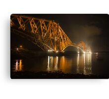 Forth Rail Bridge at night Canvas Print