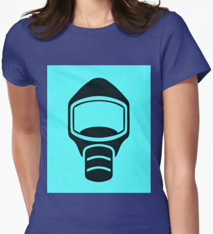 Emergency Escape Mask (or Smoke Hood, or Gas Mask) Sign Womens Fitted T-Shirt