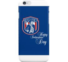 Independence Day Greeting Card-American Patriot Holding Bayonet Rifle iPhone Case/Skin
