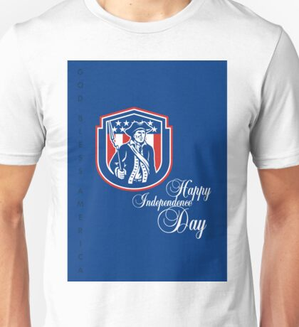 Independence Day Greeting Card-American Patriot Holding Bayonet Rifle Unisex T-Shirt