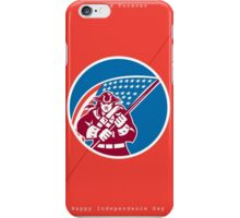 Independence Day Greeting Card-American Patriot Holding Flag iPhone Case/Skin