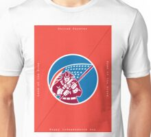 Independence Day Greeting Card-American Patriot Holding Flag Unisex T-Shirt