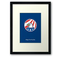 Independence Day Greeting Card-American Bald Eagle Head Side Framed Print