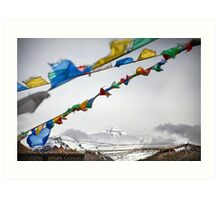 Mount Everest and Prayer flags at Base Camp in Tibet Art Print