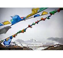 Mount Everest and Prayer flags at Base Camp in Tibet Photographic Print
