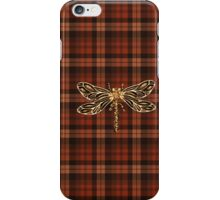 Dragonfly In Amber Inspired Plaid w. Dragonfly iPhone Case/Skin