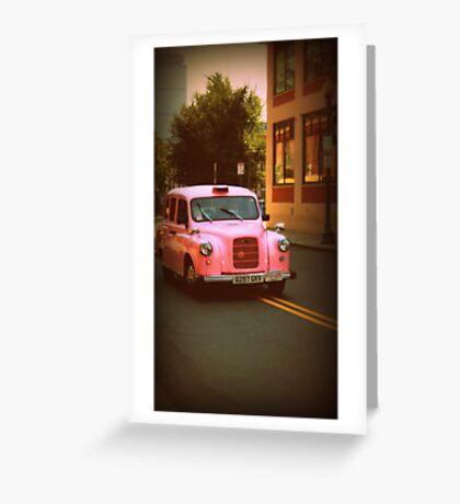 Pink Taxi Cab, Boston Greeting Card