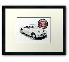 Austin Healey Bugeye Sprite in White Framed Print