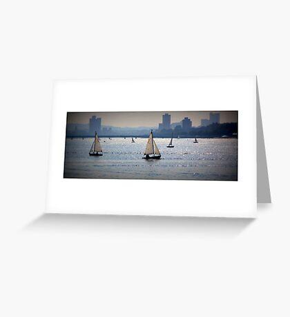 Sail Boats, Charles River, Boston Greeting Card
