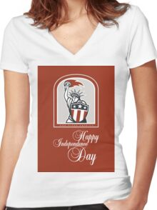 Independence Day Greeting Card-Statue of Liberty With Flaming Torch Shield Women's Fitted V-Neck T-Shirt
