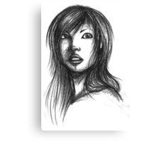 Beautiful Woman Artist Pencil Sketch 2 Canvas Print