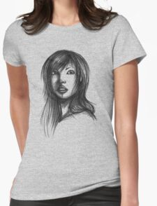 Beautiful Woman Artist Pencil Sketch 2 Womens Fitted T-Shirt