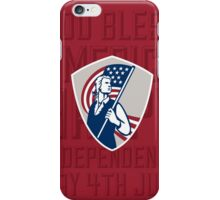 Independence Day Greeting Card-American Patriot Holding USA Flag Shield iPhone Case/Skin