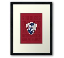 Independence Day Greeting Card-American Patriot Holding USA Flag Shield Framed Print