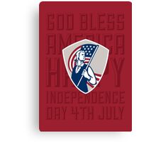 Independence Day Greeting Card-American Patriot Holding USA Flag Shield Canvas Print