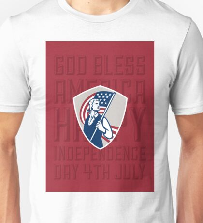 Independence Day Greeting Card-American Patriot Holding USA Flag Shield Unisex T-Shirt