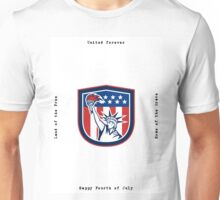 Independence Day Greeting Card-Statue of Liberty Holding Torch Unisex T-Shirt