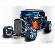 Black Flame Hot Rod Poster