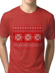 Christmas Knitted  pattern  Tri-blend T-Shirt