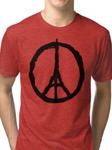 Paris Peace Symbol - White Tri-blend T-Shirt