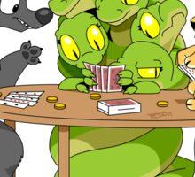 Cerberus Hydra and Chimera playing poker Sticker