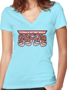Teenage Mutant Ninja Bacon  Women's Fitted V-Neck T-Shirt