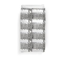 A winter scene - with Coyotes  Duvet Cover