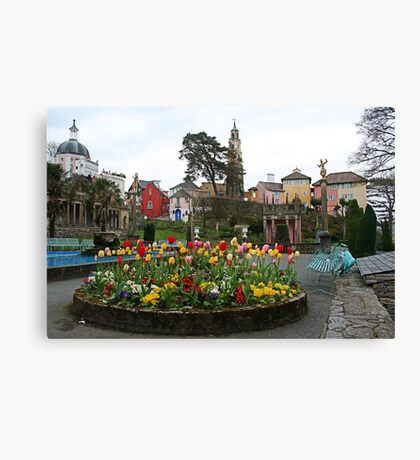 Where can you find a village full of multicoloured buildings, tulips and towers? Canvas Print