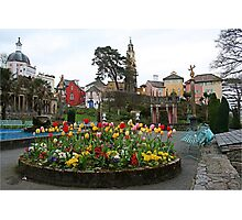 Where can you find a village full of multicoloured buildings, tulips and towers? Photographic Print