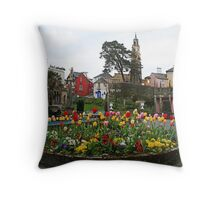 Where can you find a village full of multicoloured buildings, tulips and towers? Throw Pillow