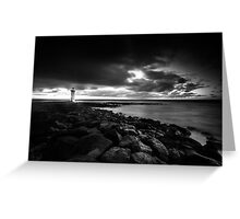 Port Fairy lighthouse moving low clouds sunrise Greeting Card