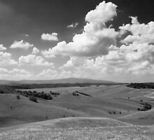 Rolling hills with dramatic sky. by exvivo