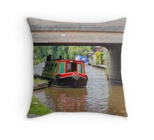The Canal & Barge Under the Bridge Throw Pillow
