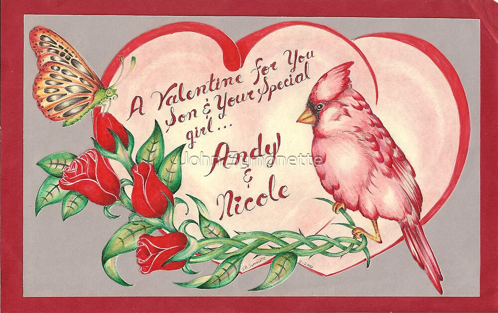 Valentines Cardinal Drawing by John Symonette