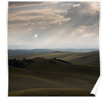 Stormy sky over rolling hills. Poster