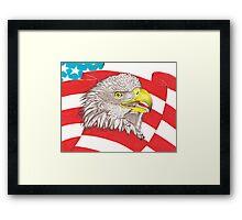 American Flag Eagle Drawing Framed Print