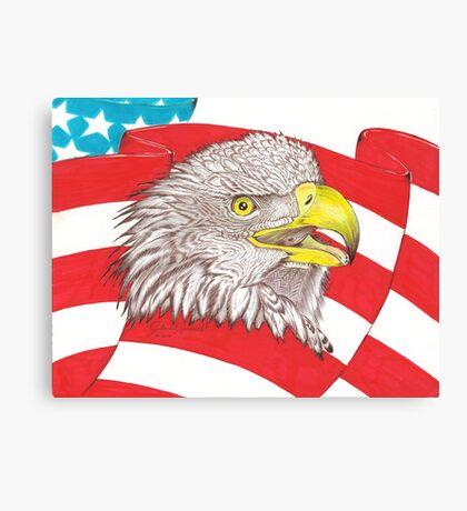 American Flag Eagle Drawing Canvas Print