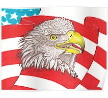 American Flag Eagle Drawing Poster
