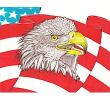 American Flag Eagle Drawing Photographic Print