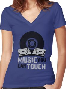 Music You Can Touch Women's Fitted V-Neck T-Shirt