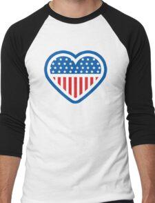 American Patriot Heart Men's Baseball ¾ T-Shirt